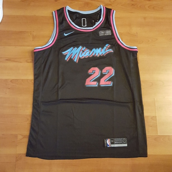 online retailer d3a0e 9dc81 Jimmy Butler Black Stitched Vice City Miami Heat NWT
